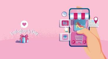 concepto de compra en línea del día de San Valentín, sitio web o aplicación de teléfono móvil, marketing y marketing digital. promoción smartphone, entrega rápida. vector ilustración de diseño plano compras las 24 horas
