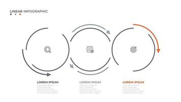 Vector linear circles with arrow elements for info graphic. business concept with 3 steps, options.