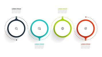 Circle info graphic template design with marketing icons. Business concept with 4 options, steps or processes.