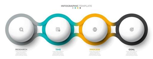Vector template for info graphic. Business concept with 4 options, steps, icons. Creative circle design elements.