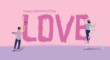 Young couple paints LOVE on the wall together, Happy Valentine's day Concept, Website or Mobile phone Application, and Digital marketing. The message promotion smartphone, top view Vector flat Design