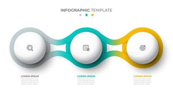 Vector template for info graphic. Business concept with 3 options, steps, icons. Creative circle design elements.