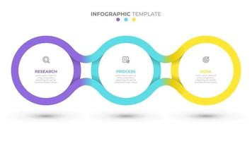 Vector time line template for info graphic. Business concept with 3 options, steps, icons. Creative circle design elements.