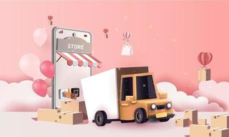 Paper art courier van cartoon in town delivery service, and shopping online vector art and illustration.