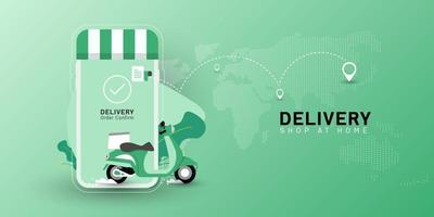 Delivery Shop at home with motorcycle transport on mobile. Online food order one click. Vector perspective map green background.
