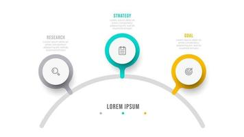 Vector info graphic design template with icon. Process chart. Business concept with 3 options or steps.
