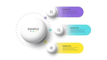 Modern info graphic template. Creative circles design with marketing icons. Business concept with 3 options, steps, parts. Vector illustration.