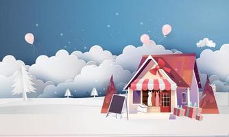 arte de papel casa de nieve en el festival del día de navidad al aire libre y tienda de la casa noche dibujos animados de fondo vector