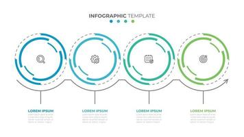 Business info graphic template. Time line with 4 options, steps or circles. Vector illustration.