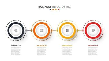 Time line info graphic design vector and icons. Circle process with 4 options or steps. Vector business template for presentation.