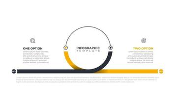 Business info graphics template for presentation. Time line with 2 steps options, circle. Vector illustration.