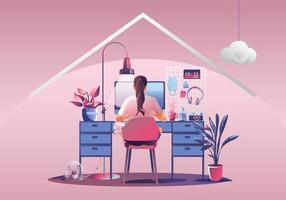 trabajar desde el concepto de hogar, autónomos jóvenes que trabajan en computadoras portátiles en casa. personas en casa en cuarentena. Vista posterior de fondo rosa, quedarse en casa ilustración vectorial. personaje de diseño plano vector