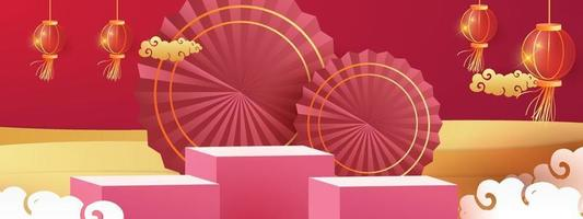 Podium round stage podium and paper art Chinese new year, happy festival chinese tradition podium for beauty branding cosmetic or any product.Concept Shopping . vector