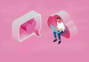 Young man uses a laptop direct message Valentine's day Concept, with Cloud computing, Website or Mobile phone Application, The message promotion smartphone, romantic and cute, pink tone, Vector design