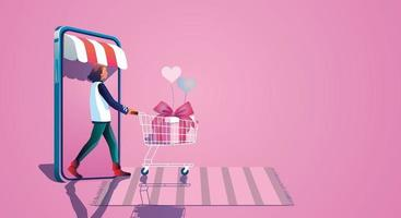 Young girl takes a shopping cart And enjoy online shopping through smartphones, Choose to buy gifts valentine's day concepts Website or Mobile phone Application, Flat design illustration vector