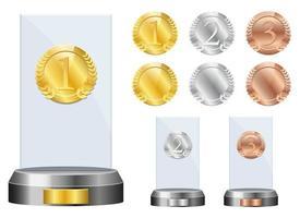 ganador del premio de vidrio conjunto de ilustración de diseño vectorial aislado sobre fondo blanco