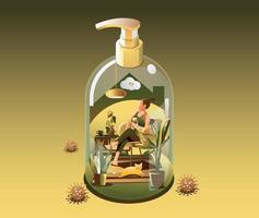 Staying at Home Quarantine concept. Coronavirus, Young women use a smartphone indoors. in a house transform to gel alcohol bottle on green background with many viruses surrounded. Vector illustration
