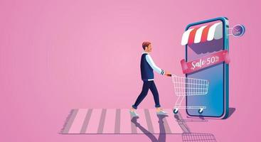 joven toma un carrito de compras y disfruta de las compras en línea a través de teléfonos inteligentes, elige comprar regalos en el sitio web de conceptos del día de San Valentín o aplicación de teléfono móvil, vector de ilustración de diseño plano