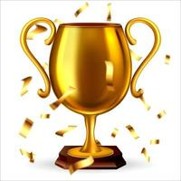 3d realistic golden cup with flying confetti. vector illustration
