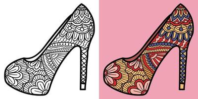 Doodle high heel colouring book page for adults and children.  Oriental Anti-stress therapy patterns. abstract zen tangle. Vector illustration.