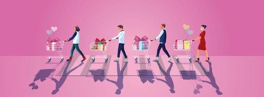 Los jóvenes toman un carrito de compras y disfrutan de las compras en línea a través de teléfonos inteligentes, eligen comprar regalos, el sitio web de conceptos del día de San Valentín o la aplicación de teléfono móvil, vector de ilustración de diseño plano