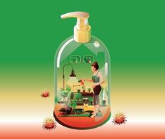Staying at Home Quarantine concept. Coronavirus,  gardener Young woman watering the plants, indoors. in a house transform to gel alcohol bottle on green background with many viruses surrounded. Vector