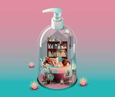 Staying at Home Quarantine concept. Coronavirus, woman reading book in a basin Bathing, indoors. in a house transform to gel alcohol bottle on pink background with many viruses surrounded. Vector