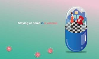 Social Distancing and Stay home concept. Quarantine, People keeping distance for infection risk and disease. woman singing, Like in a Capsule. Fun home staying. Coronavirus self-isolation.Vector vector