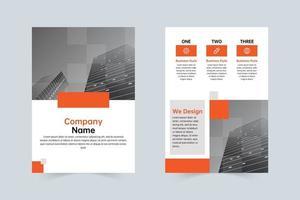negocio, naranja, gris, empresa, simple, folleto, plantilla vector