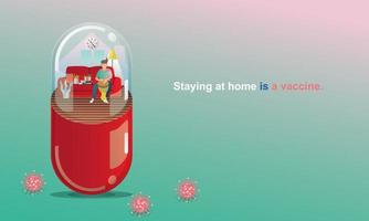 Social Distancing and Stay home concept. Quarantine, People keeping distance for infection risk and disease. man playing music, Like in a Capsule. Fun home staying. Coronavirus self-isolation.Vector vector