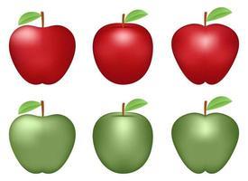 Ilustración de diseño de vector de conjunto de manzana fresca aislado sobre fondo blanco
