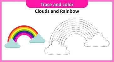trazar y colorear nubes y arcoiris vector