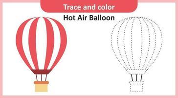 trazar y colorear globo de aire caliente vector