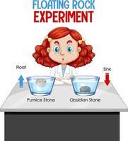 un joven científico con un experimento de rocas flotantes.