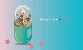 Social Distancing and Stay home concept. Quarantine, People keeping distance for infection risk and disease. man playing Cello, Like in a Capsule. Fun home staying. Coronavirus self-isolation.Vector vector