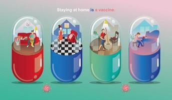 Social Distancing and Stay home concept. Musicians playing a musical instrument. working, People at home in quarantine and enjoy it. Fun home staying. Corona-virus self-isolation.Vector illustration vector