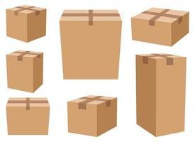 caja de cartón, conjunto, vector, diseño, ilustración, aislado, blanco, plano de fondo vector