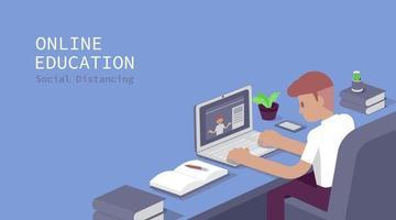estudiante estudia en computadora, examen en línea, cuestionario en internet, ilustración vectorial vector