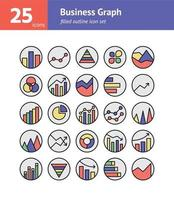 Business Graph filled outline icon set. Vector and  Illustration.