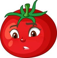 Tomato cartoon character with disappointed face expression on white background vector