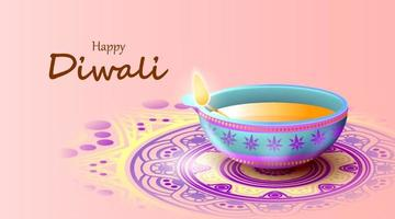 feliz festival de diwali con lámpara de aceite, tarjeta de felicitación de celebración de diwali, vector