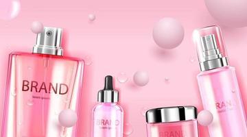 Paquete de botella cosmética de lujo, crema para el cuidado de la piel, póster de productos cosméticos de belleza, con bolas rosas sobre fondo de color rosa vector