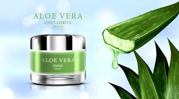 Paquete de botella cosmética de lujo crema para el cuidado de la piel, crema de aloe vera y spray con líquido que salpica a través de las hojas sobre fondo de brillo bokeh, ilustración vectorial vector