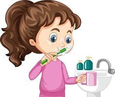 un personaje de dibujos animados de niña cepillándose los dientes vector