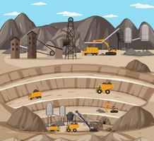paisaje de la escena de la minería del carbón con grúas y camiones vector