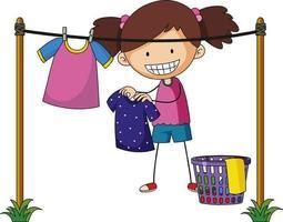 una niña lavando ropa al aire libre personaje de dibujos animados aislado vector
