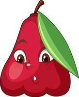 personaje de dibujos animados de manzana rosa con expresión facial vector