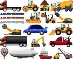 Conjunto de diferentes tipos de automóviles y camiones aislado sobre fondo blanco. vector