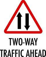 Señal de tráfico bidireccional por delante sobre fondo blanco.