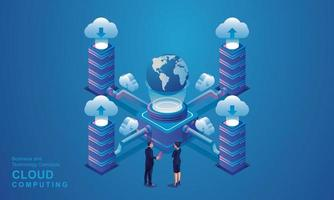 Computer technology server room digital device Isometric concept Cloud storage communication with the network Online devices uploads download information data in a database on cloud services vector